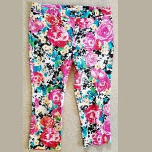 NEW YORK & CO FLORAL ANKLE PANT SZ L 12